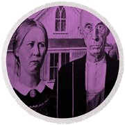 American Gothic In Pink Round Beach Towel