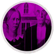 American Gothic In Purple Round Beach Towel
