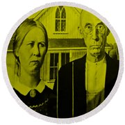 American Gothic In Yellow Round Beach Towel