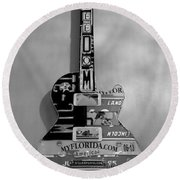 American Guitar In Black And White Round Beach Towel