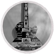 American Guitar In Black And White1 Round Beach Towel