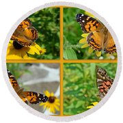 American Lady Butterfly - Vanessa Virginiensis Round Beach Towel