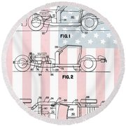 American Made Corvette Patent Round Beach Towel