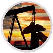 American Oil  Round Beach Towel