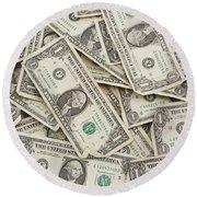 American One Dollar Bills Round Beach Towel
