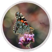 American Painted Lady Butterfly 2014 Round Beach Towel