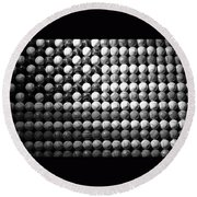 American Pastime In Black And White Round Beach Towel