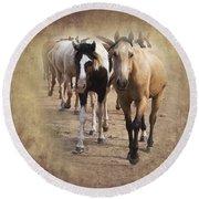 American Quarter Horse Herd Round Beach Towel