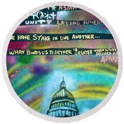 American Rainbow Round Beach Towel