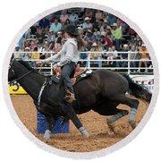 American Rodeo Female Barrel Racer Dark Horse I Round Beach Towel by Sally Rockefeller