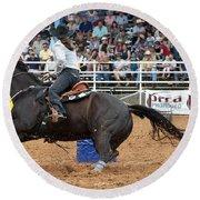 American Rodeo Female Barrel Racer Dark Horse II Round Beach Towel