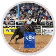 American Rodeo Female Barrel Racer Dark Horse Iv Round Beach Towel