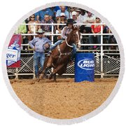 American Rodeo Female Barrel Racer White Blaze Chestnut Horse Iv Round Beach Towel by Sally Rockefeller