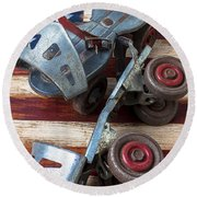 American Roller Skates Round Beach Towel by Garry Gay