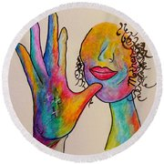 American Sign Language . . .  Mother Round Beach Towel