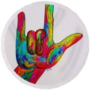 American Sign Language I Love You Round Beach Towel by Eloise Schneider