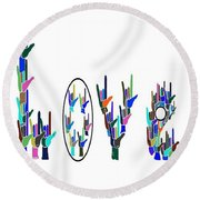 American Sign Language I Love You On White Round Beach Towel