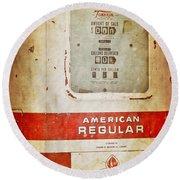 American Standard - Vintage Fuel Pump - Casper Wyoming Round Beach Towel