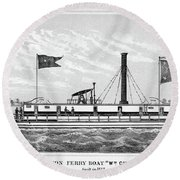 American Steamboat, 1827 Round Beach Towel