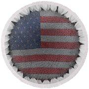 American Sunflower Power Round Beach Towel
