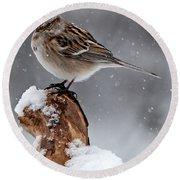 American Tree Sparrow In Snow Round Beach Towel