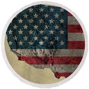 American West Topography Map Round Beach Towel