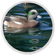 American Widgeon Duck Round Beach Towel