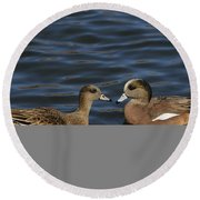 American Widgeon Pair Round Beach Towel
