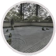 American Zen Rock And Raked Gravel Garden - Portland Oregon Round Beach Towel