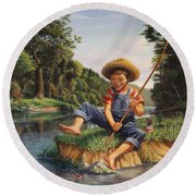 Americana - Country Boy Fishing In River Landscape - Square Format Image Round Beach Towel