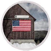 Americana Patriotic Barn Round Beach Towel by Edward Fielding
