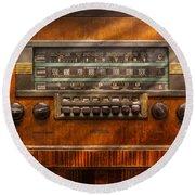Americana - Radio - Remember What Radio Was Like Round Beach Towel