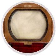 Americana - Tv - The Boob Tube Round Beach Towel by Mike Savad