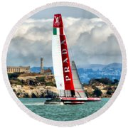 America's Cup And Alcatraz Ll Round Beach Towel