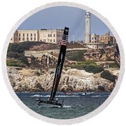 Americas Cup Oracle Team And Alcatraz Round Beach Towel