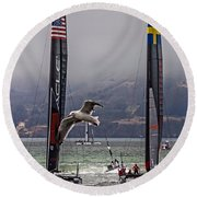 Americas Cup Oracle Team Usa V Artemis Racing Round Beach Towel