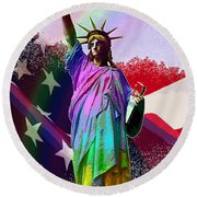 America's Statue Of Liberty Round Beach Towel