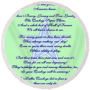America's Team Poetry Art Poster Round Beach Towel by Stanley Mathis