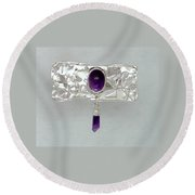 Amethyst Caverns Round Beach Towel