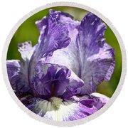 Amethyst Iris Round Beach Towel