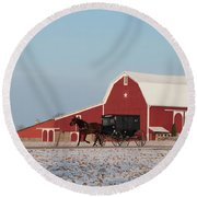 Amish Buggy And Red Barn Round Beach Towel