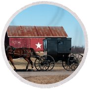 Amish Buggy And Star Barn Round Beach Towel
