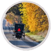 Amish Buggy And Yellow Leaves Round Beach Towel