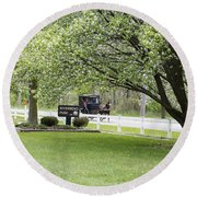 Amish Buggy At Riverbend Park Round Beach Towel