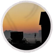 Amish Buggy Before Dawn Round Beach Towel