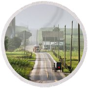 Amish Buggy Confronts The Modern World Round Beach Towel