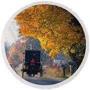 Amish Buggy Fall 2014 Round Beach Towel