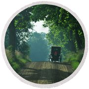 Amish  Buggy Gravel Road Round Beach Towel