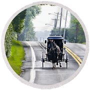 Amish Buggy In Lancaster County Pa. Round Beach Towel