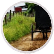 Amish Buggy On Dirt Road Round Beach Towel